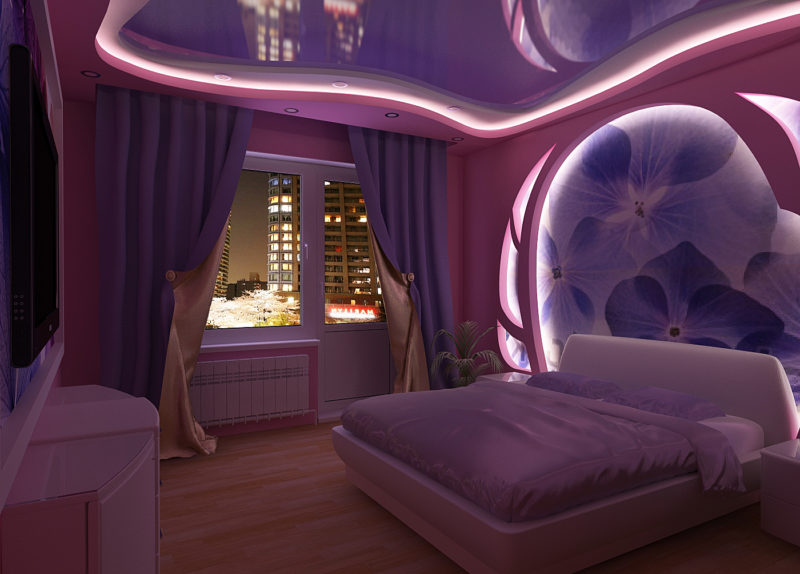 натяжные потолки для спальни фото