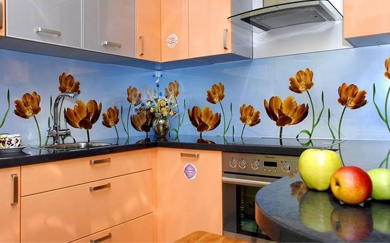 фартук на кухню из стекла