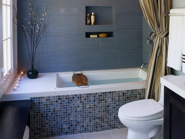 Интерьер ванной комнаты, совмещенной с туалетом