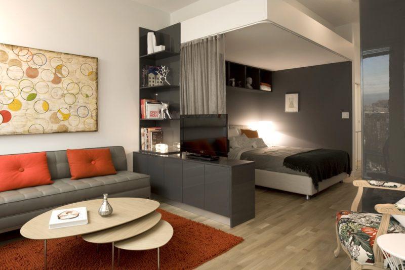 гостиная и спальня в одной комнате