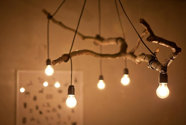 Светильники своими руками из сухой ветки