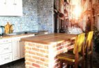 Кирпичная кухонная столешница