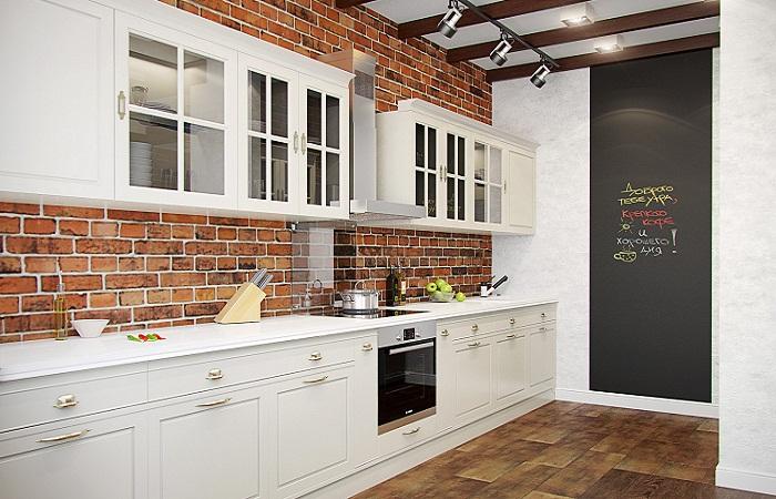 Кирпичные стены в кухне