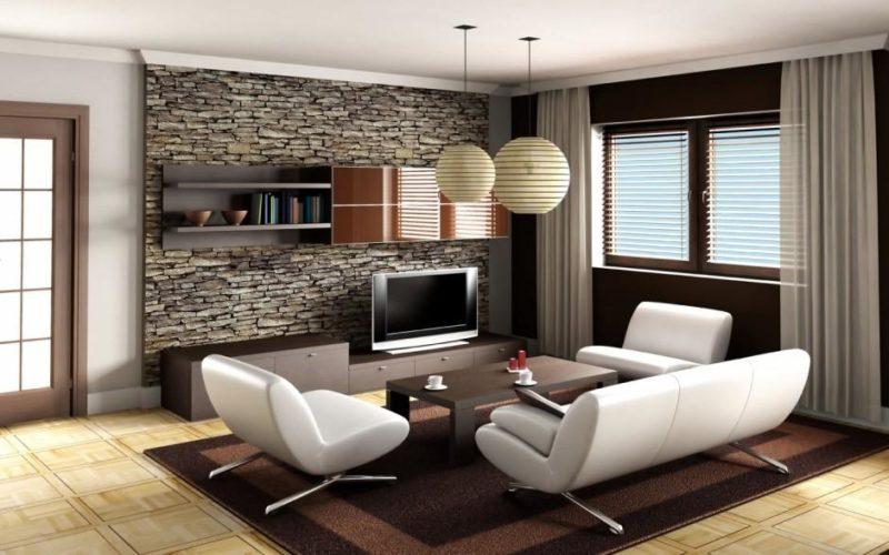 Кирпичные стены в современной гостиной