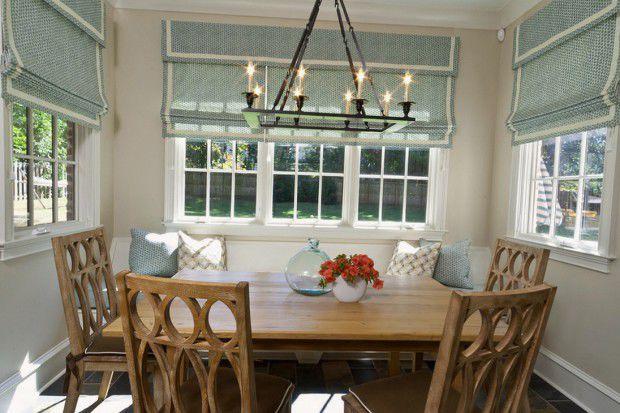 Римские шторы в кухне и столовой