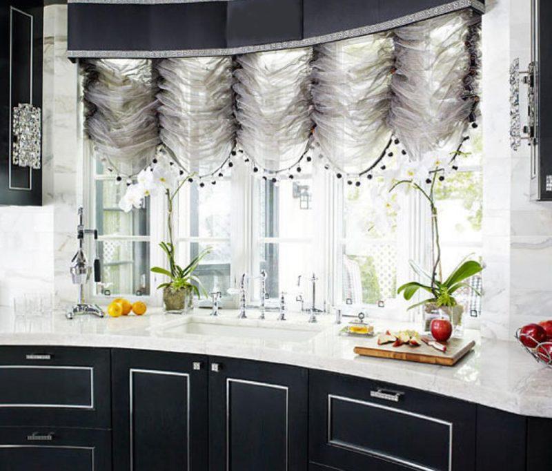 Дизайн интерьера: французские шторы для кухни