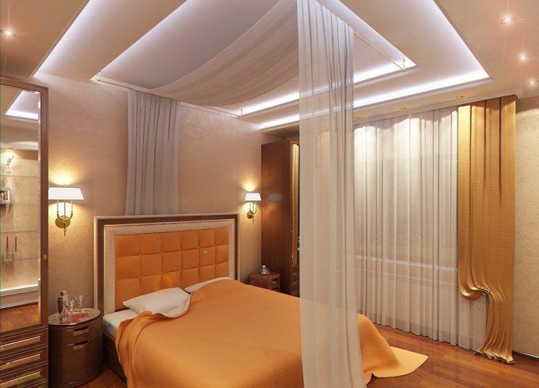 гипсокартонные потолки для спальни
