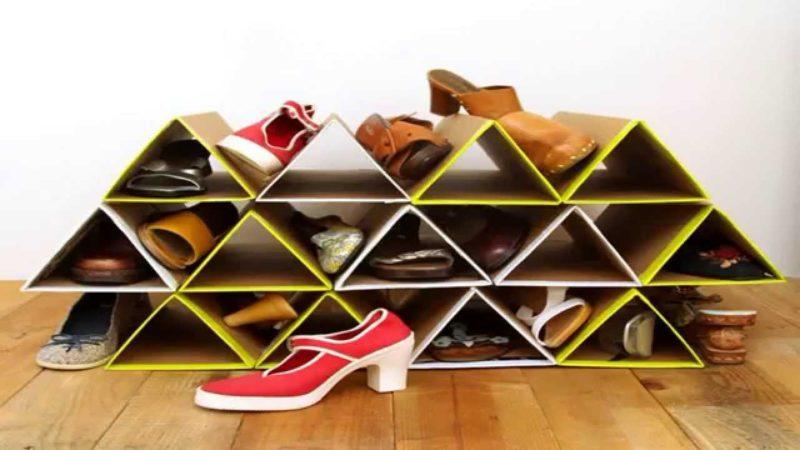 как сделать обувную полку из коробок