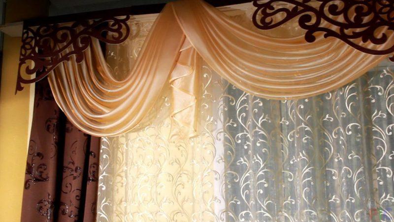 ажурные шторы в оформлении кухни