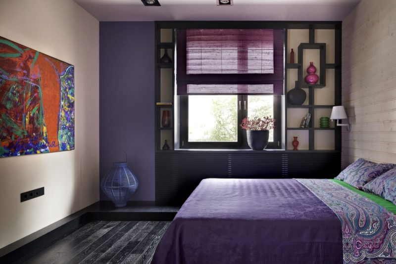 Дизайн спальни: рулонные шторы