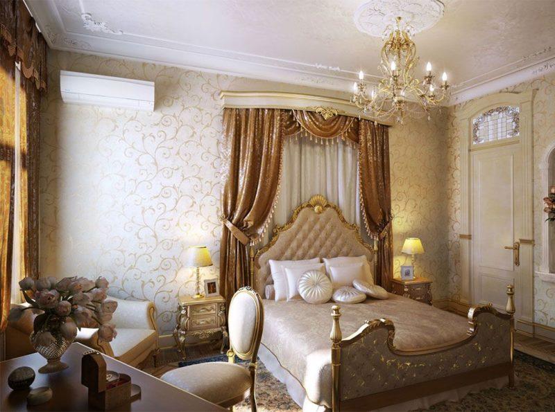 Дизайн спальни: шторы из парчи