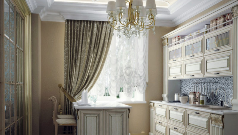 Интерьер: классические шторы на кухню