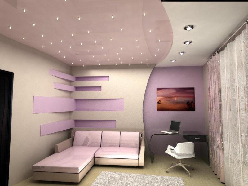 Потолки Из Гипсокартона с точечной подсветкой