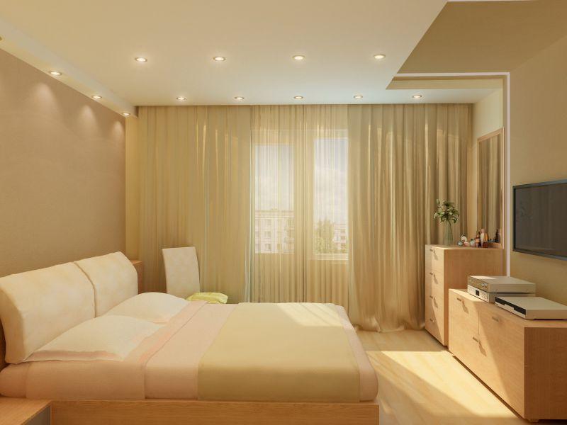 подвесные потолки в квартире: спальня