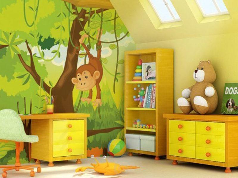 дизайн стены в детской наклейками