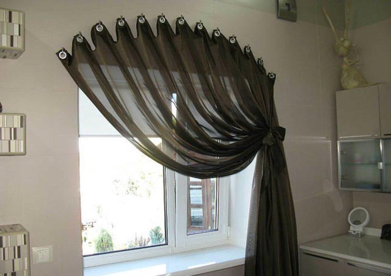 украшение шторы на кухне: ламбрикен