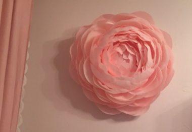 Цветы из бумаги на стену