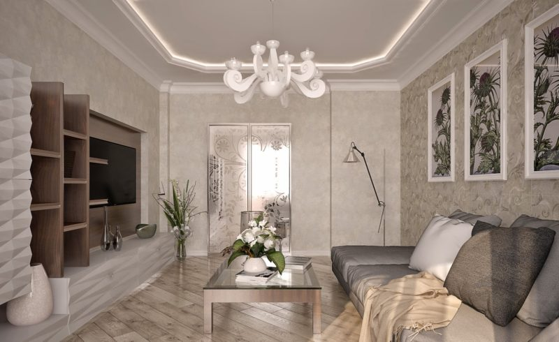 Двухуровневые потолки из гипсокартона в гостиную