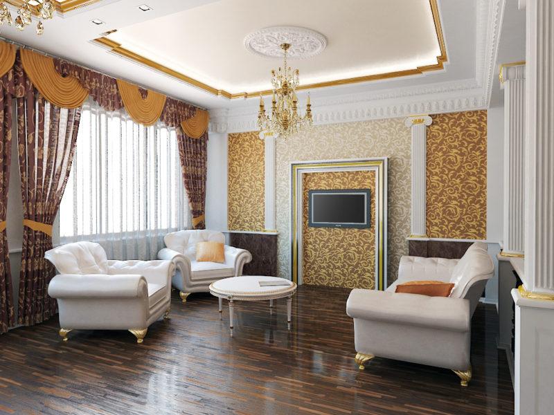 Стили интерьера  и цвет потолка