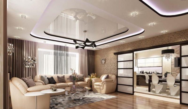 Двухуровневый потолок: освещение