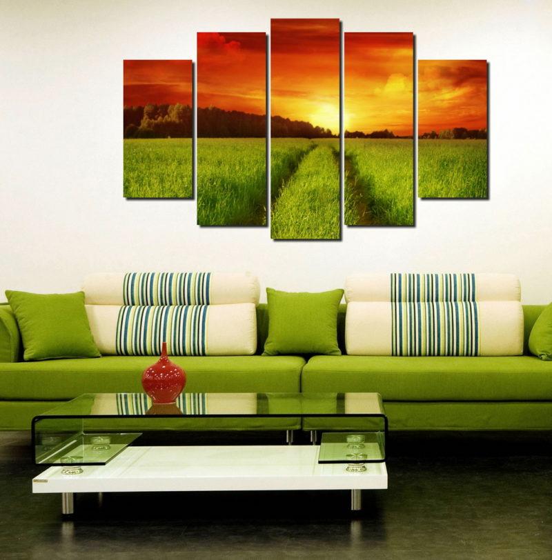 Как украсить комнату модульными картинами