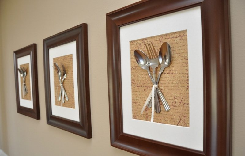 Картина из вилок на кухню