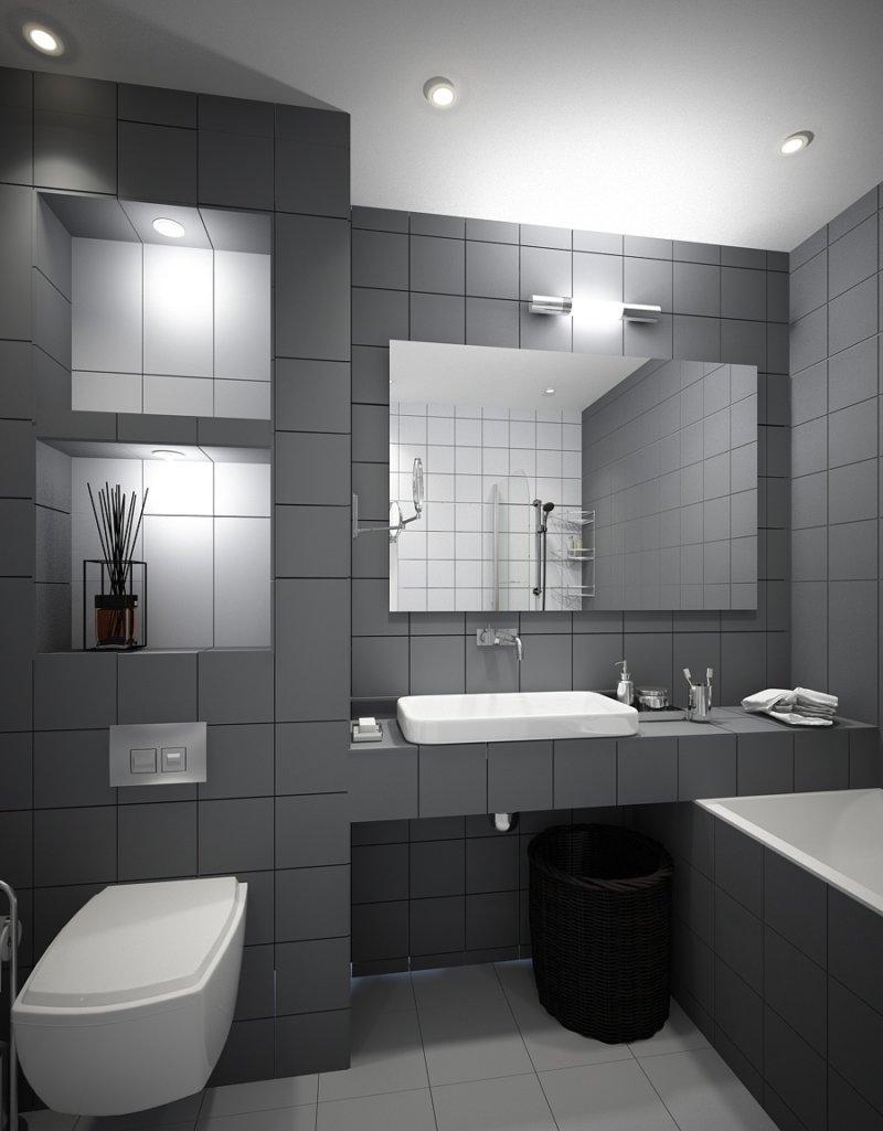 накладная раковина в ванной в стиле хайтек