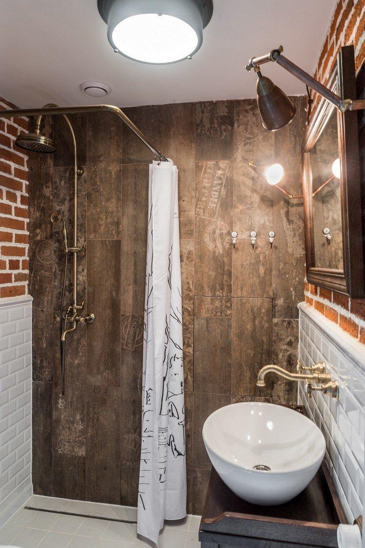 накладная раковина в ванной в стиле лофт