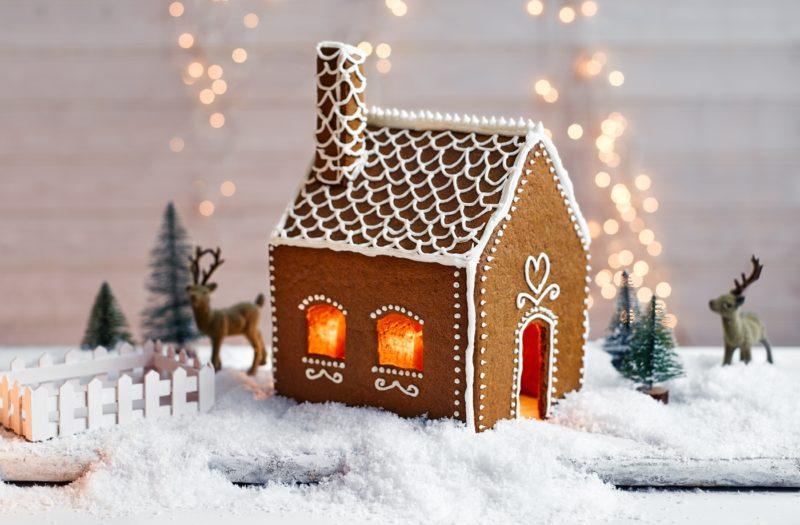 пряничный домик как украшение дома к новому году
