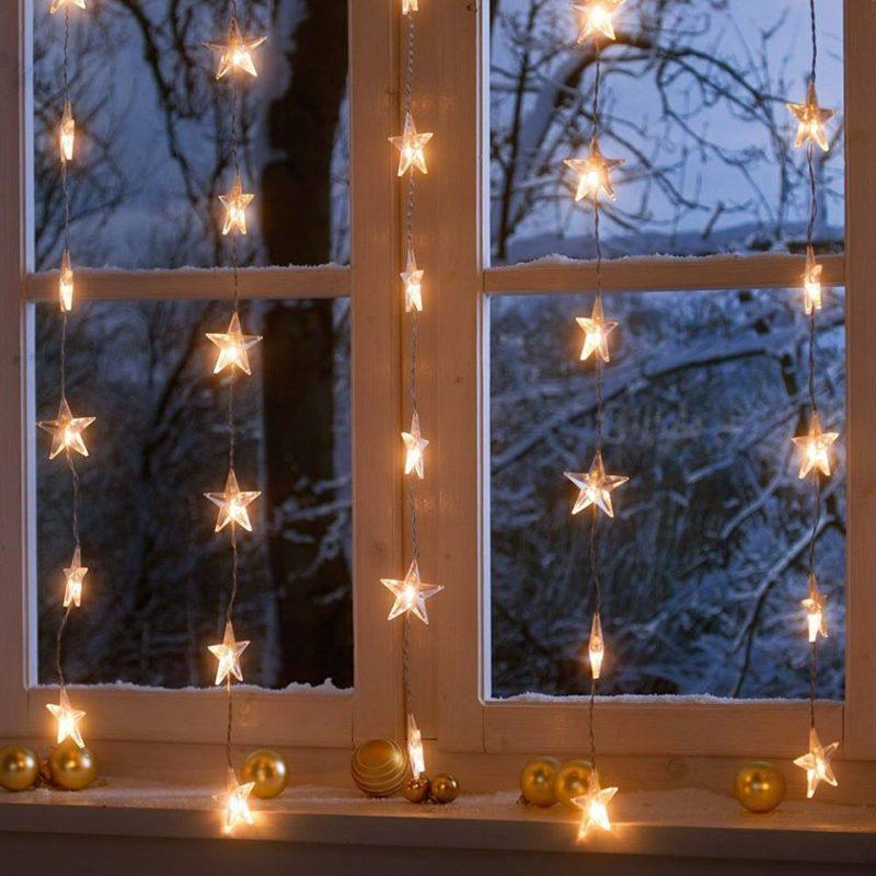 электрические гирлянды для украшения окна к новому году