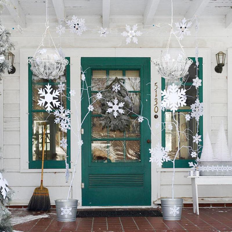 украшение входной двери к новому году