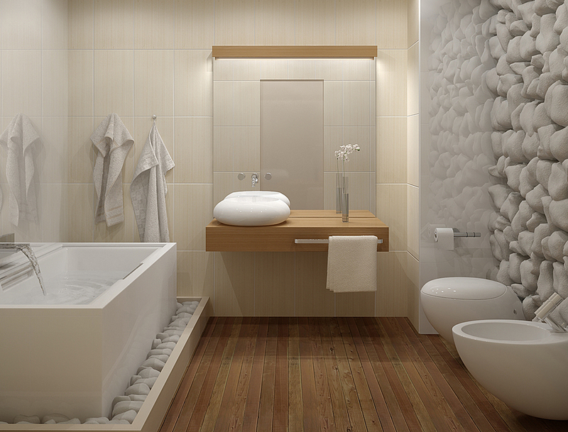Натуральный камень в декоре ванной комнаты