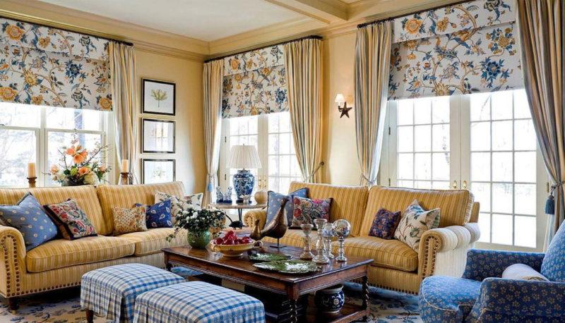 Двухцветные шторы: выбор декора в стиле модерн