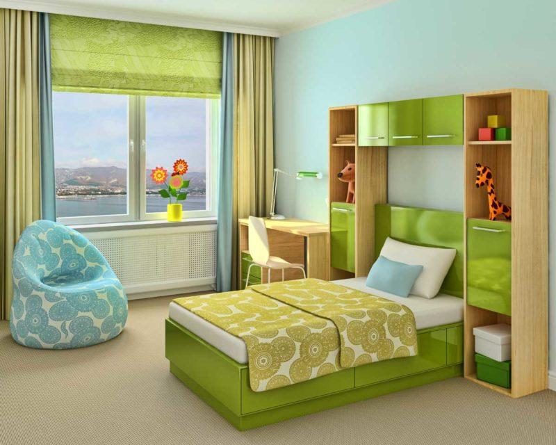 Декор окна в детской комнате: двухцветные шторы