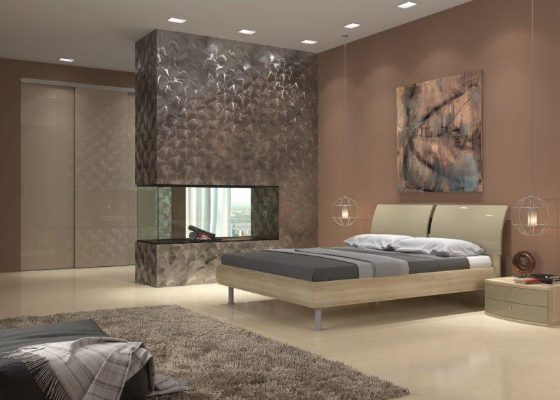 Декор в спальне: обои виниловые