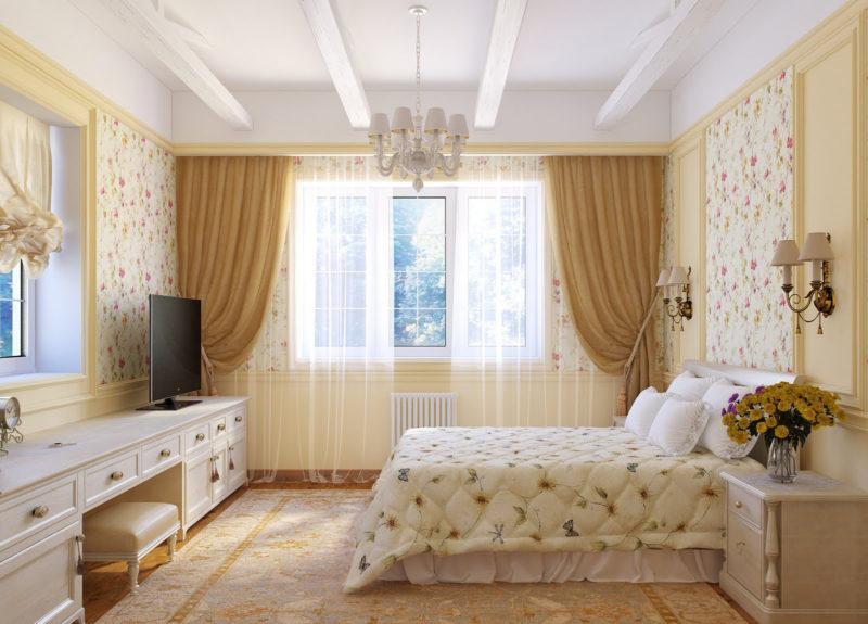 Спальня: рисунок на обоях