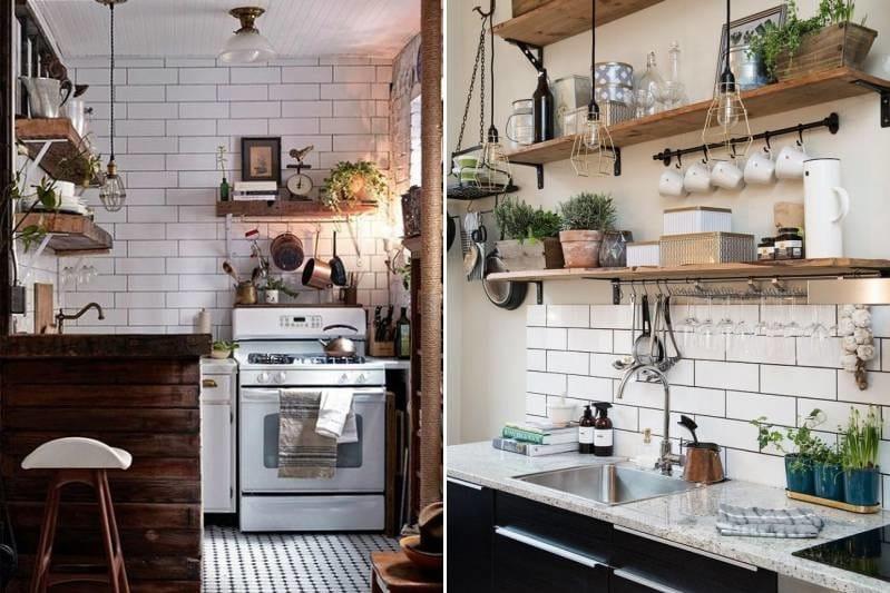 плитка метро кабанчик в кухне на фартуке