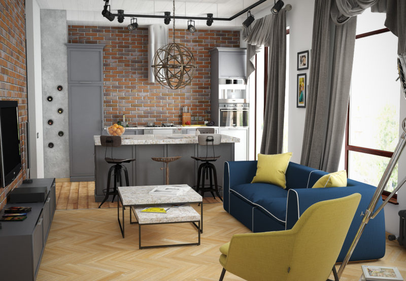 освещение в квартире в стиле лофт