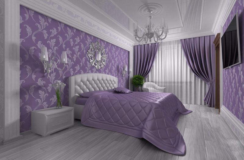 Оформление помещения фиолетовыми шторами