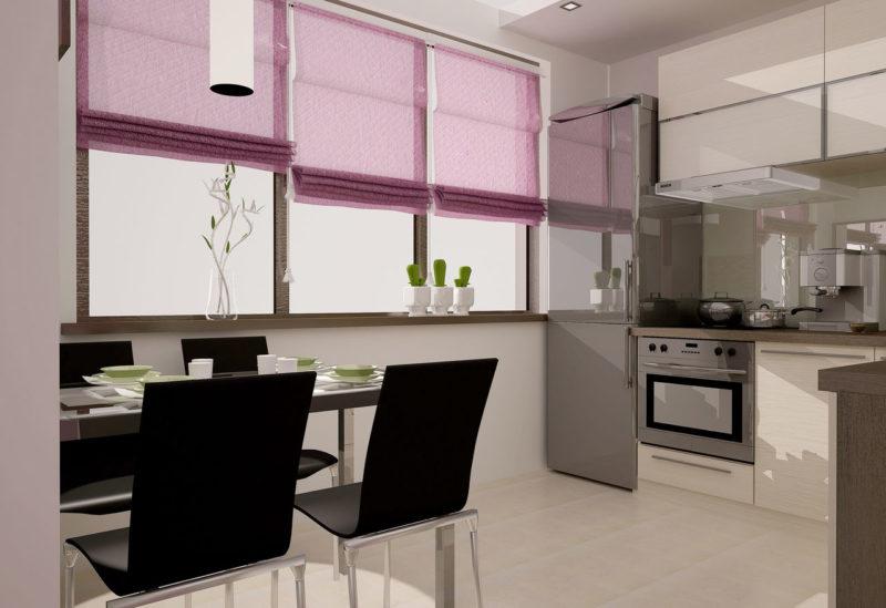 Дизайн интерьера: кухня и фиолетовые шторы