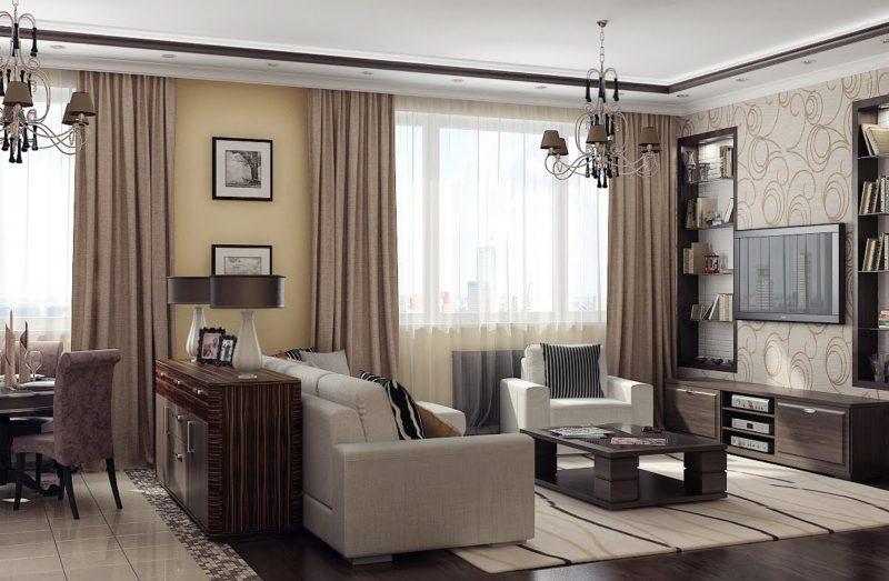 Как в гостиной оформить два окна шторами