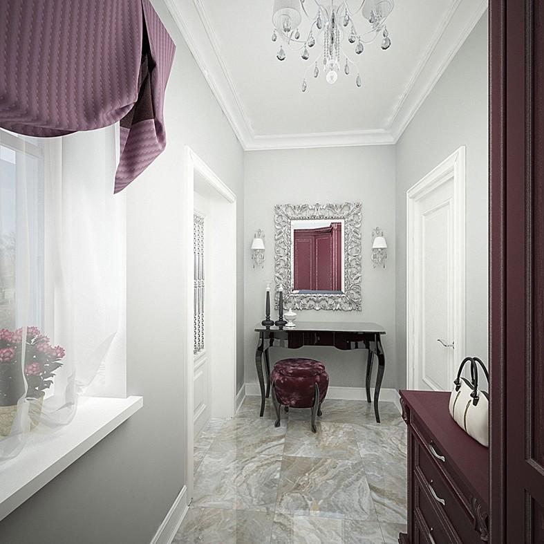 Дизайн интерьера: дизайн фиолетовыми шторами
