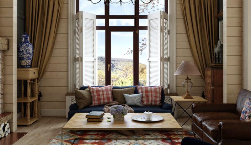 Деревянный дом: как оформить шторами окно
