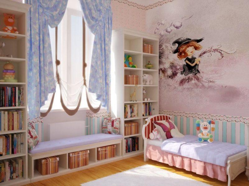 Короткие шторы до подоконника в детской