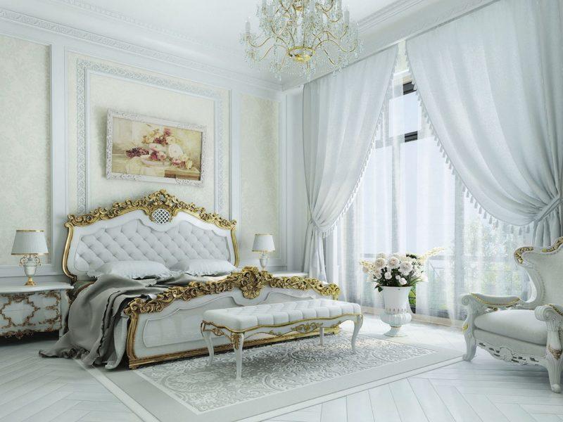 Тюль в роскошной спальне