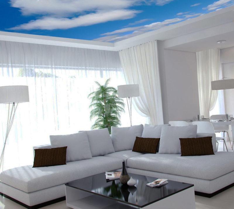 Дизайн потолка: облако в интерьере