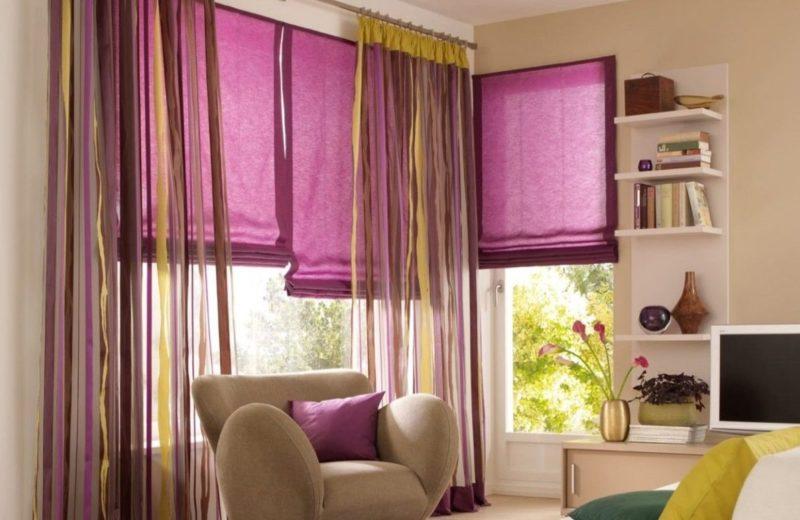 Дизайн окна: фиолетовая тюль